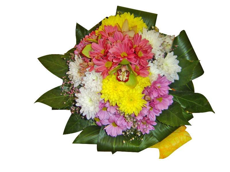 Букет хризантеми и орхидея