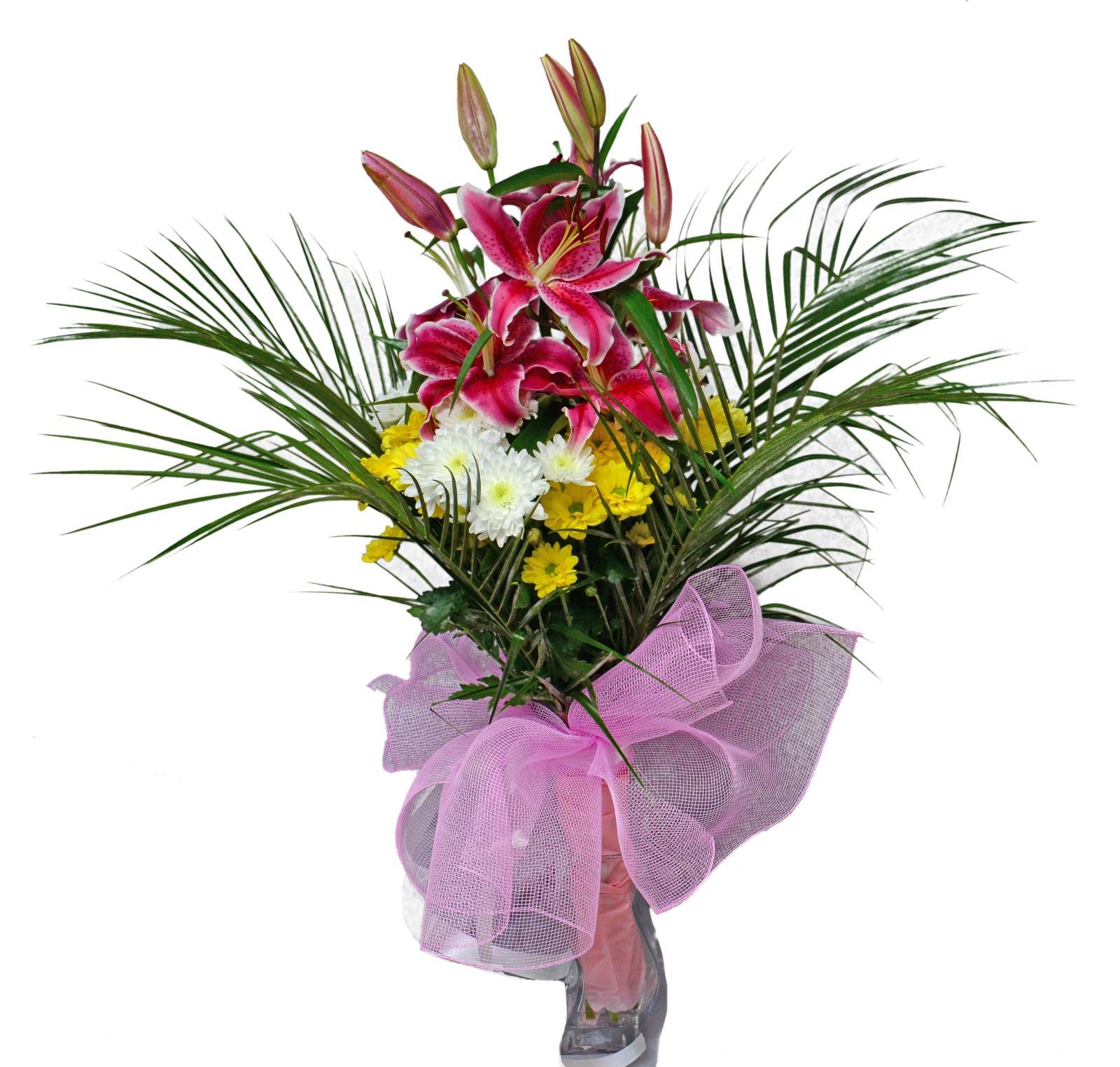 Аранжировка с лилиум и хризантеми